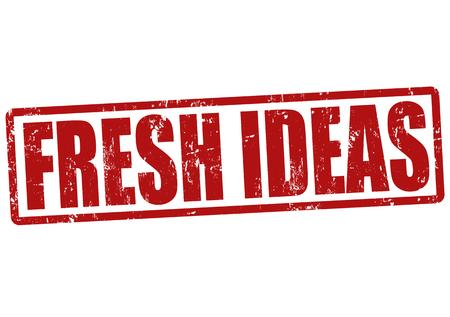 novelty: Fresh ideas grunge rubber stamp on white, vector illustration