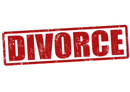 Divorce grunge rubber stamp on white, vector illustration
