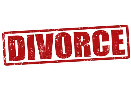 Divorcio grunge sello de goma en blanco, ilustración vectorial