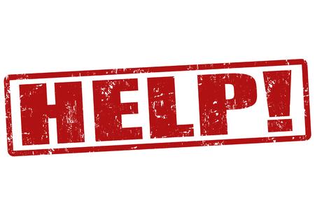 rubberstamp: Aiuto grunge timbro di gomma su bianco, illustrazione vettoriale