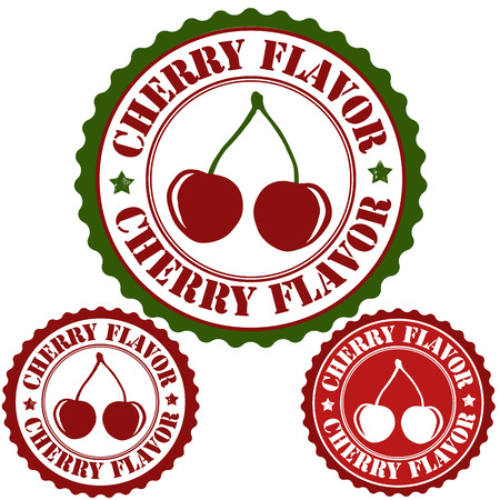 Cherry flavor set of rubber stamps, vector illustration Vector