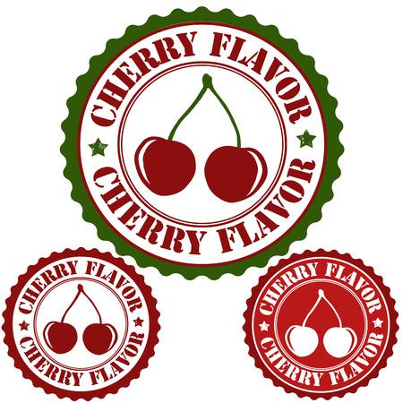 Cherry flavor set of rubber stamps, vector illustration Illustration