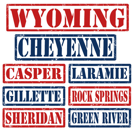 wyoming: Set of Wyoming cities stamps on white background, vector illustration