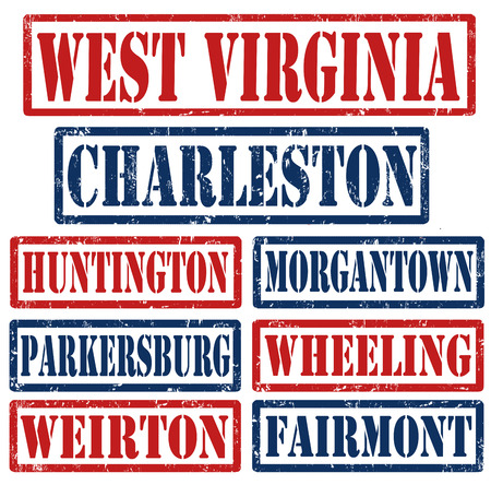 west virginia: Set of West Virginia cities stamps on white background, vector illustration