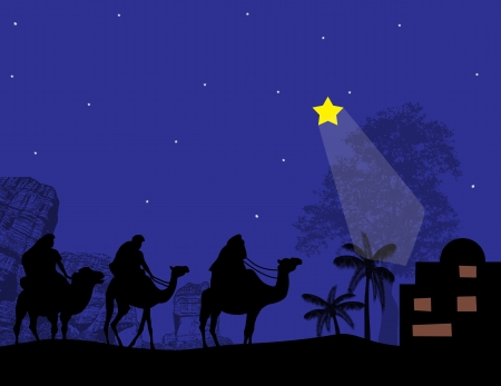 Silhouette of Three Kings and shining star of Bethlehem, vector illustration Illustration