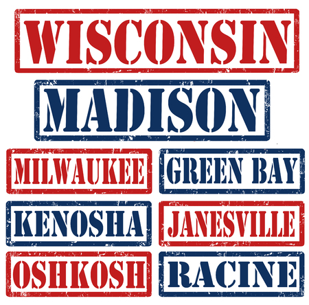 Set of Wisconsin cities stamps on white background, vector illustration