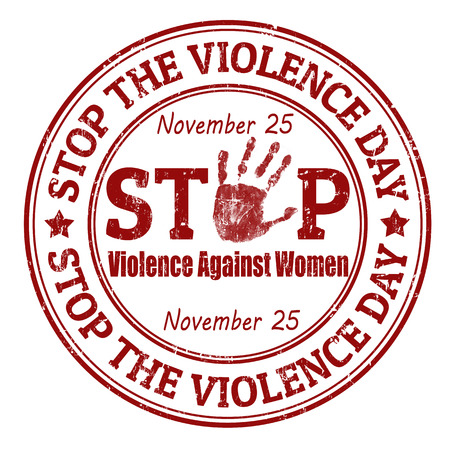 against abstract: Grunge rubber stamp with the text Stop the Violence Day written inside, vector illustration