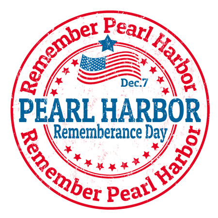 wartime: Grunge rubber stamp with the text Pearl Harbor Rememberance Day written inside, vector illustration