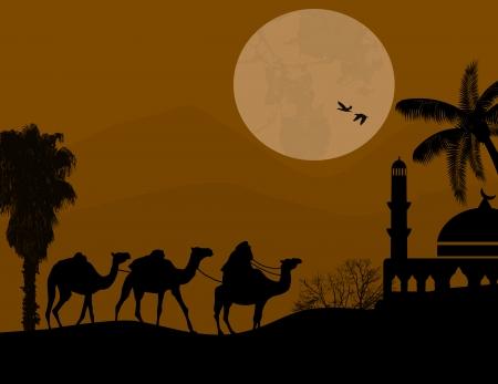 convoy: Beduino carovana di cammelli in arabo paesaggio sul tramonto, illustrazione vettoriale