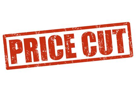 price cut: Timbro di gomma Prezzo tagliato grunge su bianco, illustrazione vettoriale
