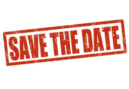 dattes: Save the date grunge timbre en caoutchouc sur fond blanc, illustration vectorielle