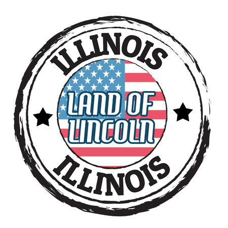 Grunge rubber stamp with flag and the text  Illinois, Land of Lincoln, vector illustration Vector