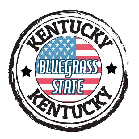 bluegrass: Grunge rubber stamp with flag and the text Kentucky, Bluegrass state, vector illustration Illustration