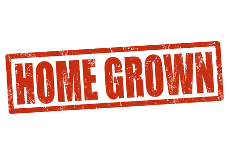 home grown: Home grown grunge rubber stamp on white, vector illustration