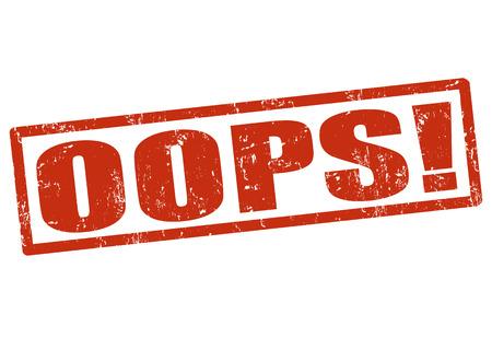 OOPS grunge rubberen stempel op wit, vector illustratie