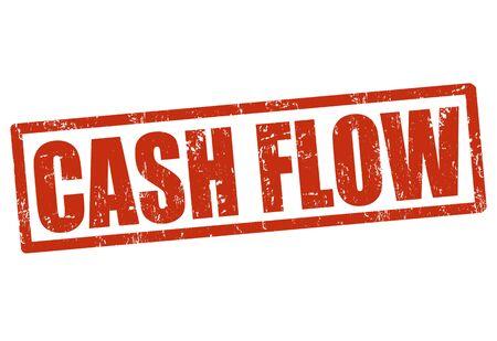 flujo de dinero: Grunge flujo de caja sello de goma en blanco, ilustraci�n vectorial