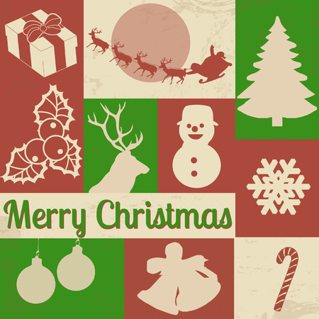 Vector collection of vintage Christmas symbols on retro background Vector
