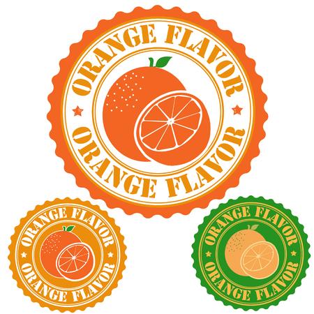 Orange flavor set of rubber stamps, vector illustration Illustration