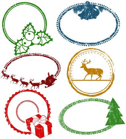 Set of empty Christmas stamps isolated on white background, vector illustration Vector