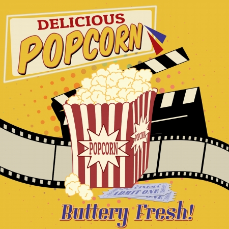 pop corn: Popcorn with clapper board, filmstrip and movie tickets on vintage grunge poster, vector illustration Illustration