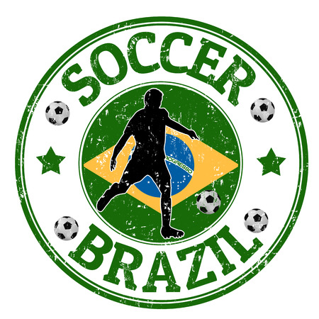 striker: Grunge stamp with soccer player and name Brazil written inside, vector illustration