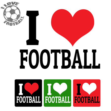 I love Football sign and labels on white , vector illustration Vector
