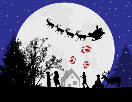 Santa Claus and his reindeer on full moon coming to city with gifts for childrens, vector illustration Stock Vector - 23884733