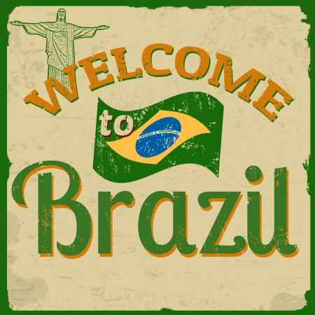 brazil symbol: Touristic Retro Vintage Greeting sign with text Welcome to Brazil, vector illustration