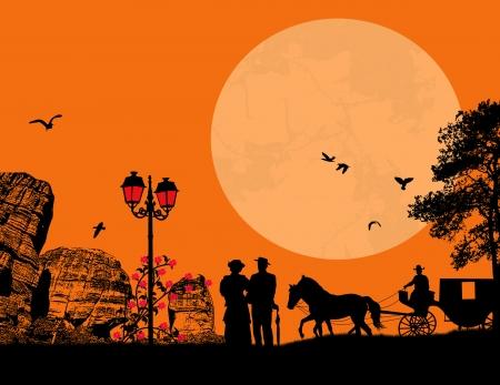 viejo oeste: Pareja de ancianos con el caballo y el carro en escena de oeste antigua, ilustraci�n vectorial Vectores