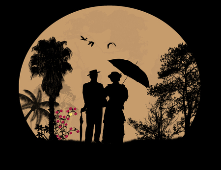 full moon: People silhouettes on beautiful landscape in front of full moon, vector illustration