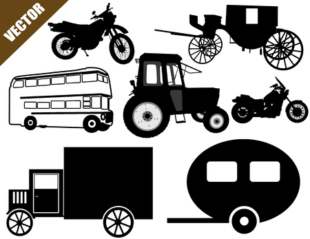 Transportation icons collection on white, vector illustration Vector