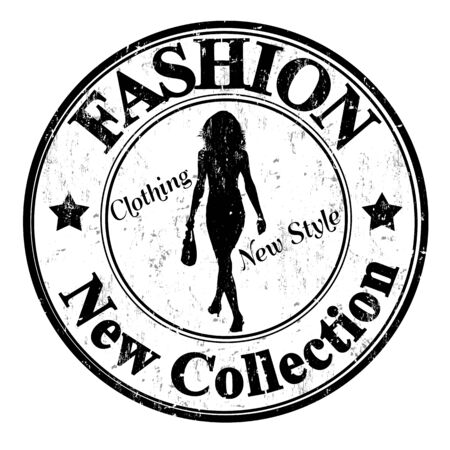 stamp collection: Black grunge rubber stamp with female silhouette and the text Fashion, new collection written inside, vector illustration