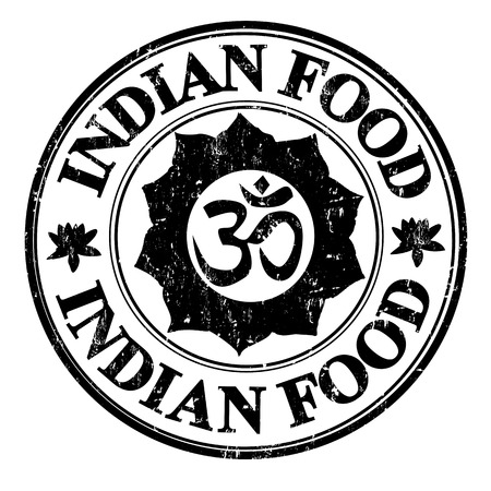 india food: Black grunge rubber stamp with hinduism symbol and the text indian food written inside, vector illustration