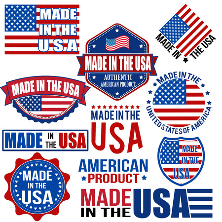 flags usa: Set of various Made in the USA graphics and labels on white, vector illustration