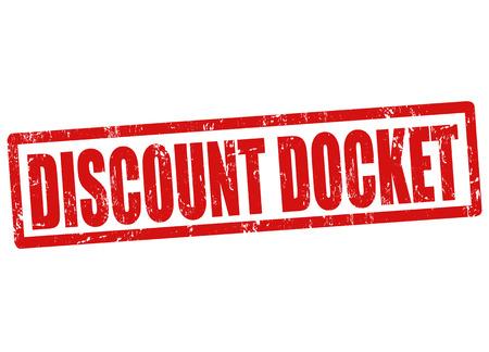 docket: Discount docket grunge rubber stamp on white, vector illustration Illustration