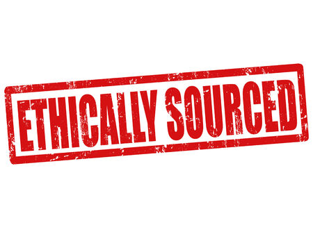 sourced: Ethically sourced grunge rubber stamp on white, vector illustration