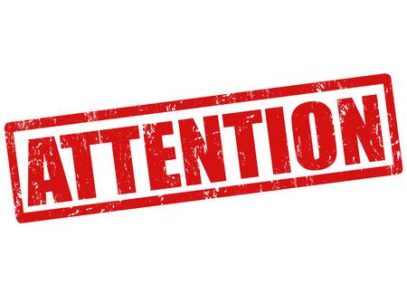 prestar atencion: Atención grunge sello de goma en blanco, ilustración vectorial