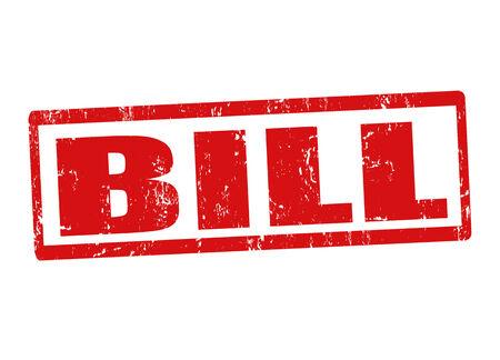 Bill grunge rubber stamp on white, vector illustration Stock Vector - 23974659
