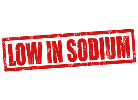 salt free: Low in sodium grunge rubber stamp on white, vector illustration