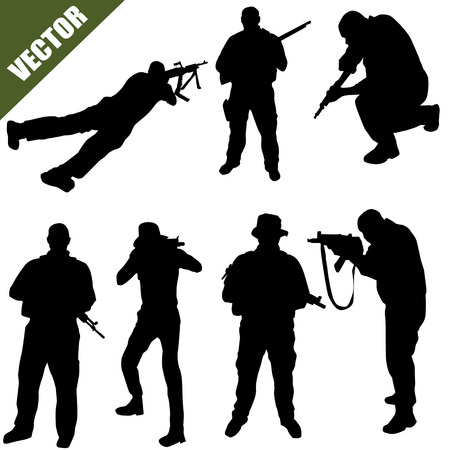 militant: Various poses of army soldiers silhouette  on white background, vector illustration