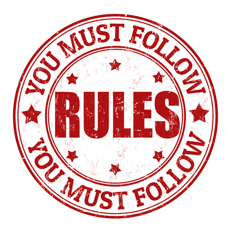 regulations: You must follow rules grunge rubber stamp on white, vector illustration