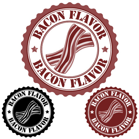 Bacon flavor set of rubber stamps, vector illustration Vector