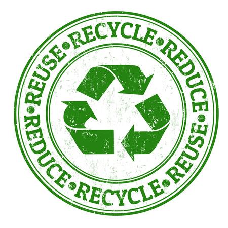 Verde timbro di gomma grunge con le parole riutilizzare, ridurre e riciclare scritto all'interno