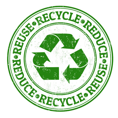 Vert timbre en caoutchouc grunge avec les mots réutiliser, réduire et recycler écrit à l'intérieur Banque d'images - 23975585