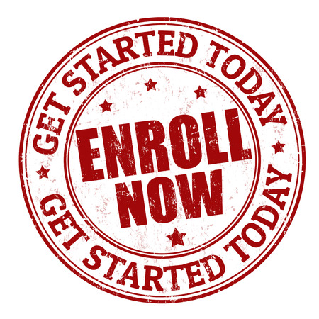 join now: Enroll now grunge rubber stamp on white, vector illustration