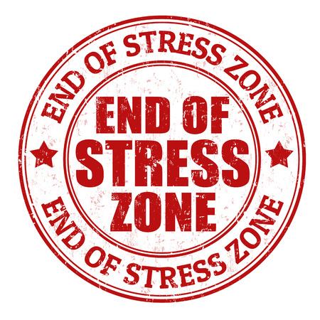 zone: End of stress zone grunge rubber stamp on white, vector illustration
