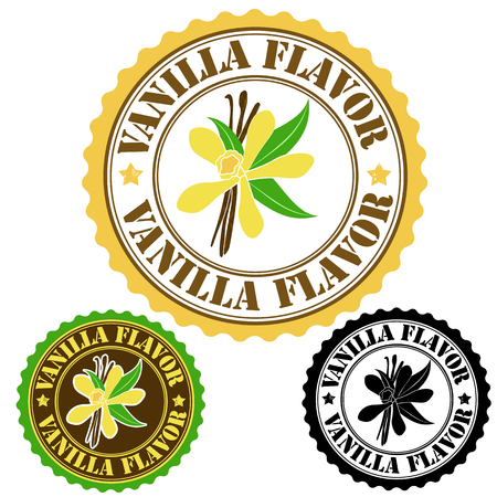 Vanilla conjunto sabor de sellos de goma, ilustración vectorial Foto de archivo - 23975589