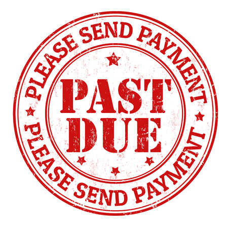 sent: Past due grunge rubber stamp on white, vector illustration
