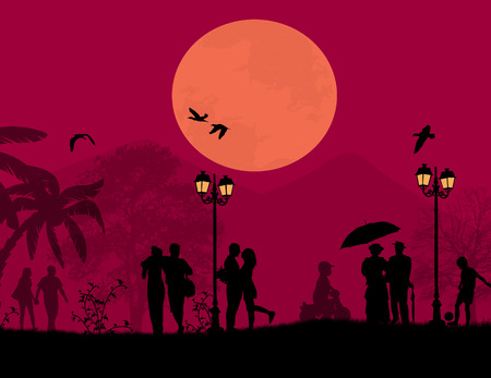 Lovers in the beautiful park in front a full moon, vector illustration Vector