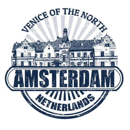 large office: Grunge rubber stamp with the name of Amsterdam( Venice of the North), Netherlands written inside Illustration